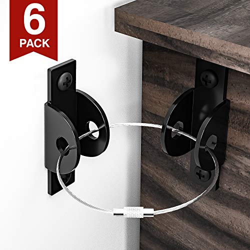Furniture Straps for Baby Proofing (6 Pack), Child Proofing Metal Furniture Anchors, Secure 400 Pound Falling Furniture Prevention Straps Kids Toddler Pet Furniture Safety Straps (Black)