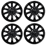 Tuningpros WC3-15-503-B - Pack of 4 Hubcaps - 15-Inches Style Snap-On (Pop-On) Type Matte Black Wheel Covers Hub-caps