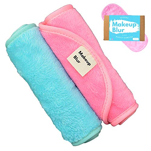 Reusable Makeup Remover Cloth Towels Set - Remove mascara, exfoliate skin, clean your face - Eraser for you makeup! Wipe your face free only with warm water - MAKEUP BLUR (Turquoise & Baby Pink)