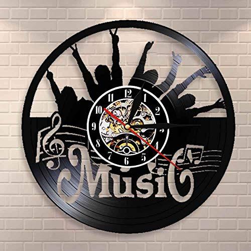 CVG Pon tu Mano Música Rock N Roll Vinyl Record Reloj de Pared Colgante Moderno Reloj silencioso Decoración para el hogar Rock Music Lover Gift