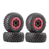 INJORA RC Reifen Set mit Felgen 4Pcs Tires mit Räder für 1/10 RC Short-Course Truck Car Kurzbahn Auto VKAR TRAXXAS Slash 10SC (AX4008)