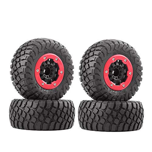 INJORA RC Wheel Set 4pcs Wheel Tires with Beadlock Rims for 1:10 RC Short-Course Truck Traxxas Slash 4x4 VKAR 10SC HPI (AX-4008)
