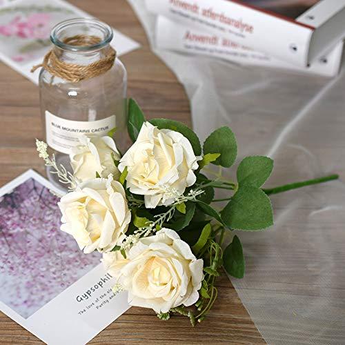 GERINESE 1 Stücke 5 Blütenköpfe Künstliche Rosen Künstliche Blumen Kunstblumen (Weiß) gefälschte Seide Rose Blumen für Zuhause Hausgarten Party Hotel Büro Dekor Fest Geburstag Hochzeitsstrauß