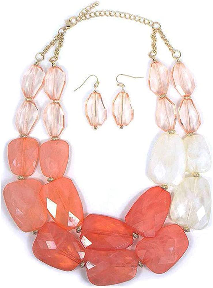 Pink Peach Coral Melon Salmon Colored Resin Big Chunky Statement Necklace Earrings Set