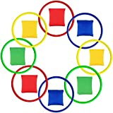 ECHG 16Pcs Nylon Bean Bags and Plastic Rings, Multicolor Toss Game Sets for Kids Bean Bag Toss Game Garden Backyard Outdoor Games Speed and Agility Training Games