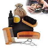 Kit de barba para hombres, kit de recortadores con aceites para barba, peine, bálsamo, tijeras de peluquero, cepillo para dar forma al bigote y recortar juegos de herramientas de afeitado