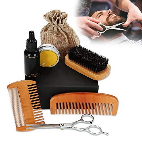 Kit de limpieza de barba de 8 piezas para padres y maridos, incluye crema eliminadora, aceite esencial, peine de madera, tijeras, champú, brocha, kit profesional para el cuidado de la barba