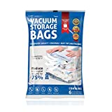 Homitt Vacuum Storage Bags Cube, Reusable Space Saver Bags with No Pump Needed, 6 Packs Medium Cube Big Size for Clothes,Bedding, Pillows, Work with Any Vacuum Cleaner [Upgrated Version]