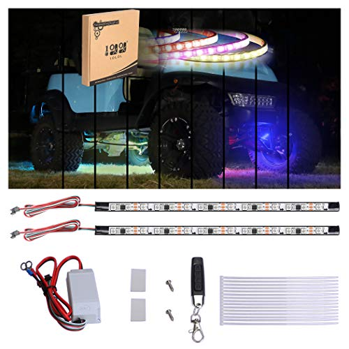 10L0L Golf Cart Underbody Underglow Neon Features 7 Solid Colors LED Lights 2pcs Kit with 4-Key Wireless Remote Fits Club Car Yamaha EZGO Golf Cart