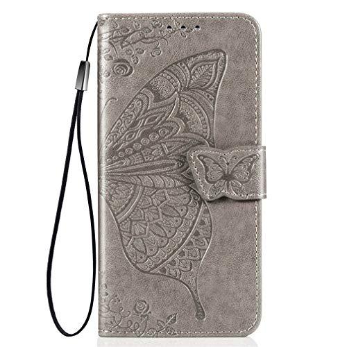 KERUN Hülle für Xiaomi Pocophone F2 Pro Flip Lederhülle, 3D Schmetterling Geprägte Prägung Handyhülle, Premium Leder Brieftasche Handytasche Schutzhülle mit Kartenfach Standfunktion.Grau