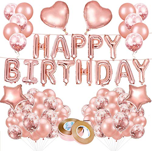 Geburtstagsdeko Luftballons, 70pc Geburtstag metallische Ballon Set, Happy Birthday Banner Dekoration, Konfetti Ballon Luftballons für Geburtstag, Hochzeit, Babyparty, Hochzeitsdeko & Geburtstagsdeko