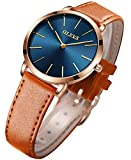 OLEVS Minimalist Watches for Women Brown Leather Band Wrist Watch for Ladies Royal Blue Dial Waterproof Casual Slim Dress Quartz Analog Female College Students Gifts with Classic Retro Strap Two Tone