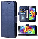 Phone Case for Samsung Galaxy S5 Folio Flip Wallet Case,PU Leather Credit Card Holder Slots Heavy Duty Full Body Protection Kickstand Protective Phone Cover for GalaxyS5 SV i9600 Men Dark Blue