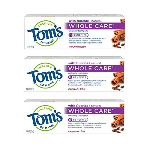 Tom's of Maine Whole Care Natural Toothpaste with Fluoride, Cinnamon Clove, 4.0 oz. 3-Pack