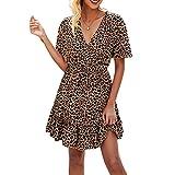 happygirr Vestido Midi de vitroces de vitrocerías de Vestido en V Profundo Vestido de Leopardo Bordado de Manga Corta Moda Swing para Party Beach Verano