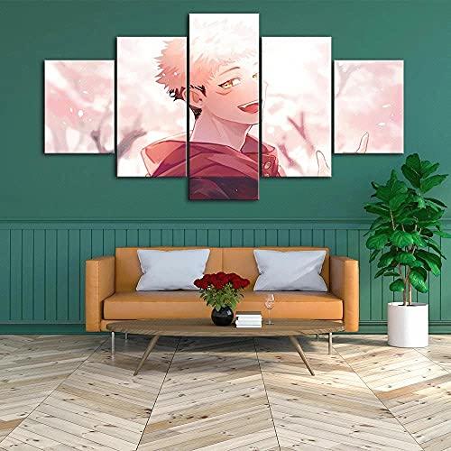 SDGSDG Lienzo Impresiones en HD decoración del hogar/Póster Chica bajo la Flor de Cerezo /5 Piezas Arte Cuadros modulares para Sala de Estar Dormitorio póster artístico