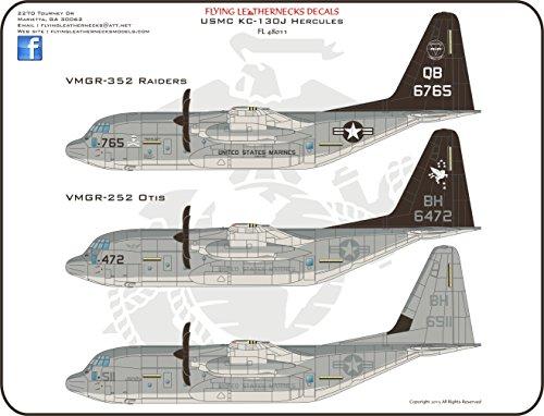 ORDFL48011 1:48 Flying Leathernecks USMC KC-130J Hercules VMGR-352 Raiders / VMGR-252 Otis [WATERSLIDE DECAL SHEET]