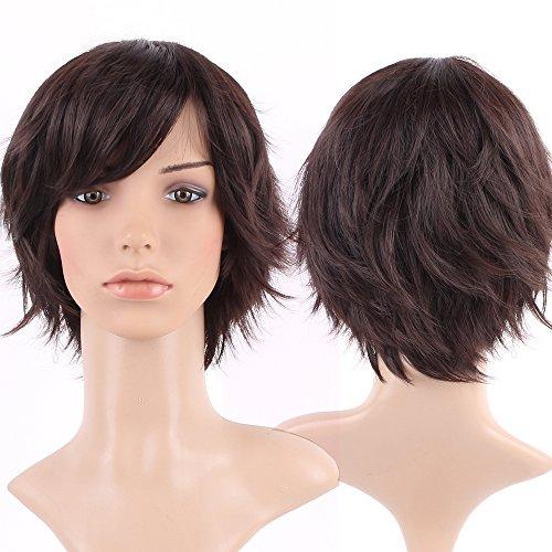 Parrucca da donna con capelli veri naturali corti parrucca piena 14 cm marrone scuro strato ondulato per feste quotidiane