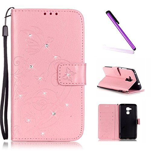 EMAXELERS Huawei Honor 5C Hülle Leder Lederhülle Flip Glitzer Schale Brieftasche Standfunktion & Karte Halter Etui Kartenfächer Wallet Tasche Etui für Huawei Honor 5C,Pink Butterfly with Diamond