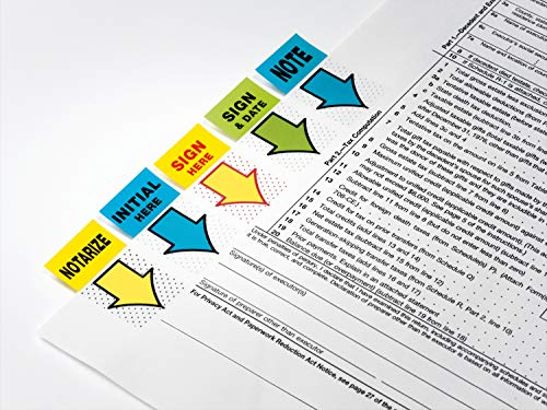 """Post-it Standard Page Flags in Dispenser  1in Wide, Yellow """"Notarize"""" 100 Flags, 680-NZ2"""