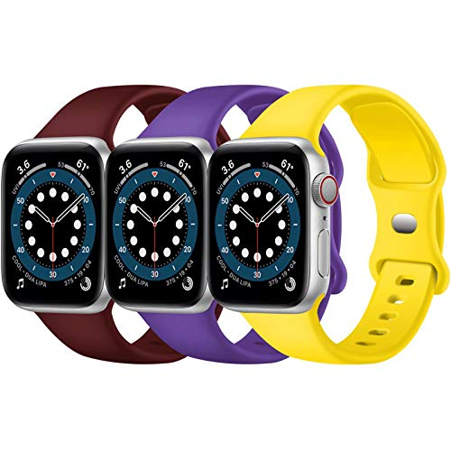 Confezione 3 cinturini Apple Watch compatibili con Apple Watch 38 mm, 42 mm, 40 mm, 44 mm, cinturino sportivo in silicone morbido, compatibile con iWatch serie SE 6 5 4 3 2 1 (A, 42 mm 44 mm)
