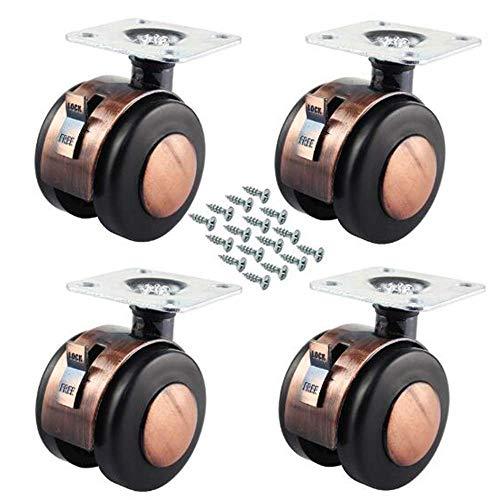 CEXTT Ruedas for Mueble 4, Nylon-cinc aleación Ruedas de Transporte 50MM con Ruedas de Freno, Muebles, electrodomésticos pequeños Ruedas - Cada 100KG cojinete