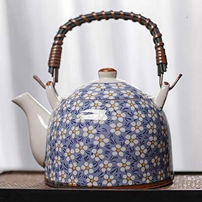 Oavand Japanese Ceramic Teapot with Infuser 30 OZ (900ml) for 3-4 Cups, Tea Pots for Loose Leaf Tea & Blooming Tea, Large Porcelain Teapot for Women Gift, Blue Floral Tea Pot