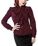 Schwarze Rüschen Schluppenbluse rot gepunktet mit Jabot und Strassknöpfen Stehkragen Rockabilly Bluse Damen Retro L