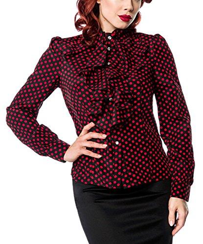 Schwarze Rüschen Schluppenbluse rot gepunktet mit Jabot und Strassknöpfen Stehkragen Rockabilly Bluse Damen Retro XL Oberteil dunkel