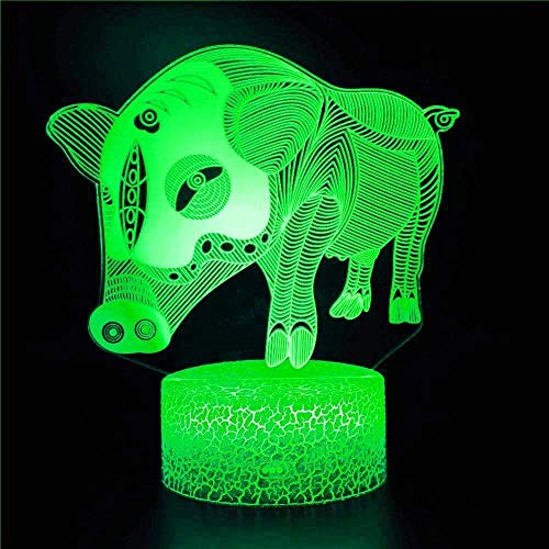 Creative 3D Pig Night Light USB Powered Touch Switch LED Decor Table Desk Optical Illusion 3D Lamp 7/16 Colors Gradul Lights Children Kids Toy Christmas Xmas Brithday Gift