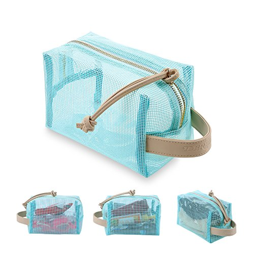 Kulturbeutel für Damen Männer,Wasserdichte Tasche/Transparent,2 Schichten Beutel mit Griff,Ideal für Reisen, Schwimmen, Fitness und Camping