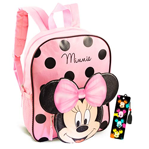 Disney Minnie Mouse Backpack for Toddlers ~ 12' Minnie Mouse School Bag with 3D Ears and Bow with Bookmark (Minnie Mouse School Supplies Bundle)