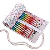 Abaría - Bolsa de lápiz de Colores, Mediana Estuche Enrollable 72 lápices, portalápice...