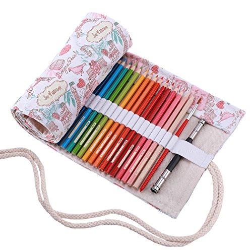 Abaría - Bolsa de lápiz de Colores, pequeño Estuche Enrollable 36 lápices, portalápices de Lona, Organizador para Arte, parís 36 Agujeros