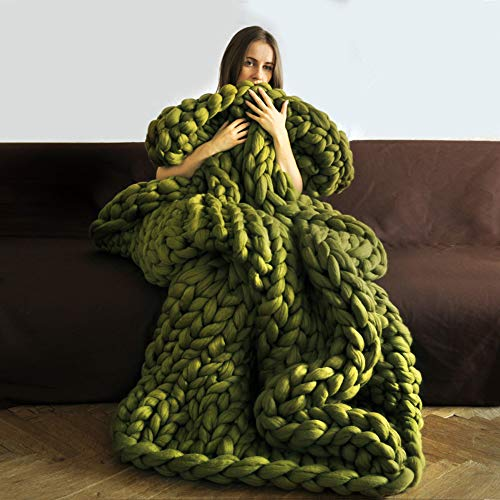 ZFMG Garn Wolle Roving Häkeln Decke, Soft Bulky Arm Stricken Hand Chunky Strickdecke Decke Garn Für Riese Klobig Sticken Werfen Sofa Decke, Geschenkdecke,Grün,120x150cm(47x59inch)