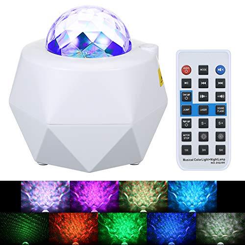 Lixada LED Sternenhimmel Projektor Ozeanwellen Nachtlich Lampe Einstellbarer Sternenprojektor mit Fernbedienung Eingebautem Bluetooth Musikplayer lichtprojektor Ocean Wave Sternen projektor
