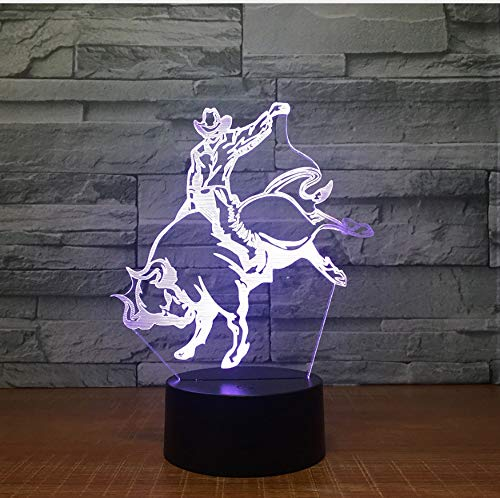 3D LED lamp Taurin nachtvorm 7 kleuren veranderen de lichten van de decoratie Het beste cadeau voor de ventilator van de jeans-aurine