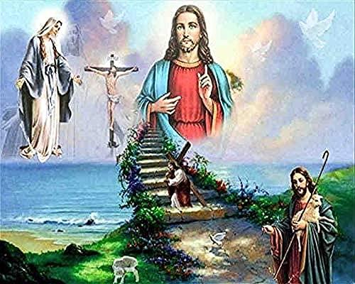 MSDEWLH Diy 5D Pintura De Diamante Kit,Fe En Jesús Religión Sala De Estar Bordado De Juegos Dedecoración Hogareña 30X40Cm(12X16 Pulgada)