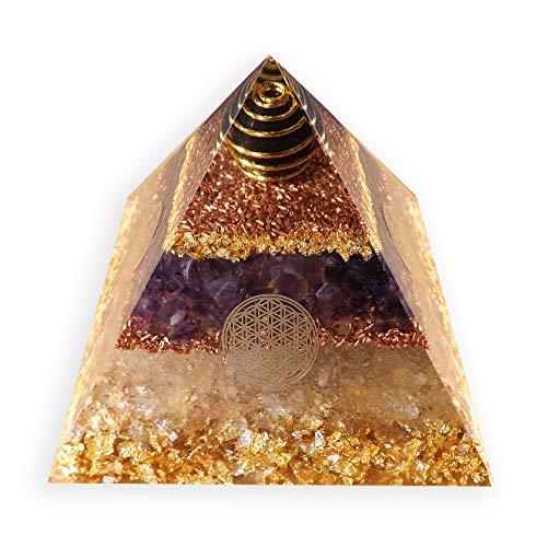 emotion & design Orgonit Pyramide - mit Schungit, Edelsteine, Kupfer, Messing, Silber und 4X Blume des Lebens