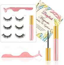 Berylash Magnetic Eyeliner and Lashes Magnetic Eyelashes Kit, Natural Look and Waterproof 3 Pairs Magnetic Eyelashes & Eyelash Tweezer, Reusable ,No Glue Needed.