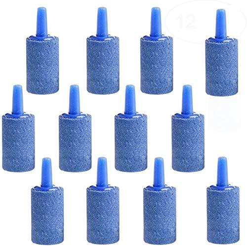 12 Stück Luftblase Stein Sauerstoff Stein, Luftblasen Diffusor Airstones, Luftstein für Teichaquarium Aquariumpumpe und Hydroponik, 15 mm x 25 mm Blau