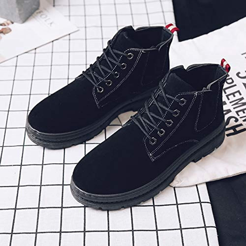 Shukun Men's boots Autumn High To Help Chelsea Boots Men'S Retro Martin Boots Men'S Wild Cotton shoes Cotton Warm Snow Boots
