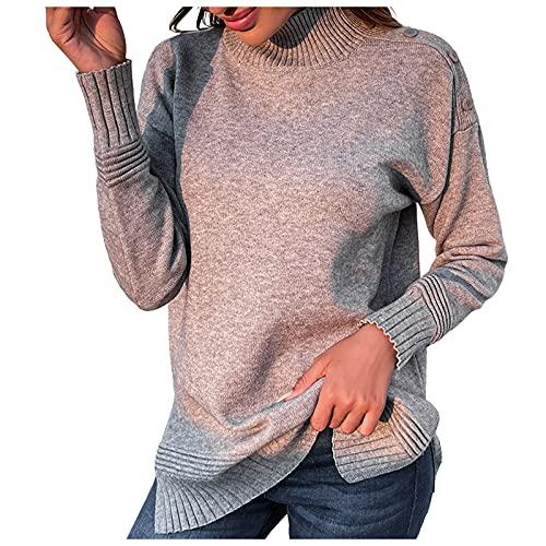 Elegantes Jerséis Punto Mujer de Manga Larga Cuello Alto Color Sólido Jersey Mujer Suelto y Transpirables para Inviernos Suéter Mujer con Decoración de Botones Camisetas Mujer Casual