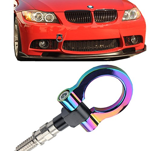 JGR Track Racing Style Tow Hook Towing Eye CNC Aluminum Screw On Front Rear Bumper for BMW 3 Series E36 E46 E90 E91 E92 E93 318 320 323 325 328 330 335 M3 1992 to 2012 Neo Chrome