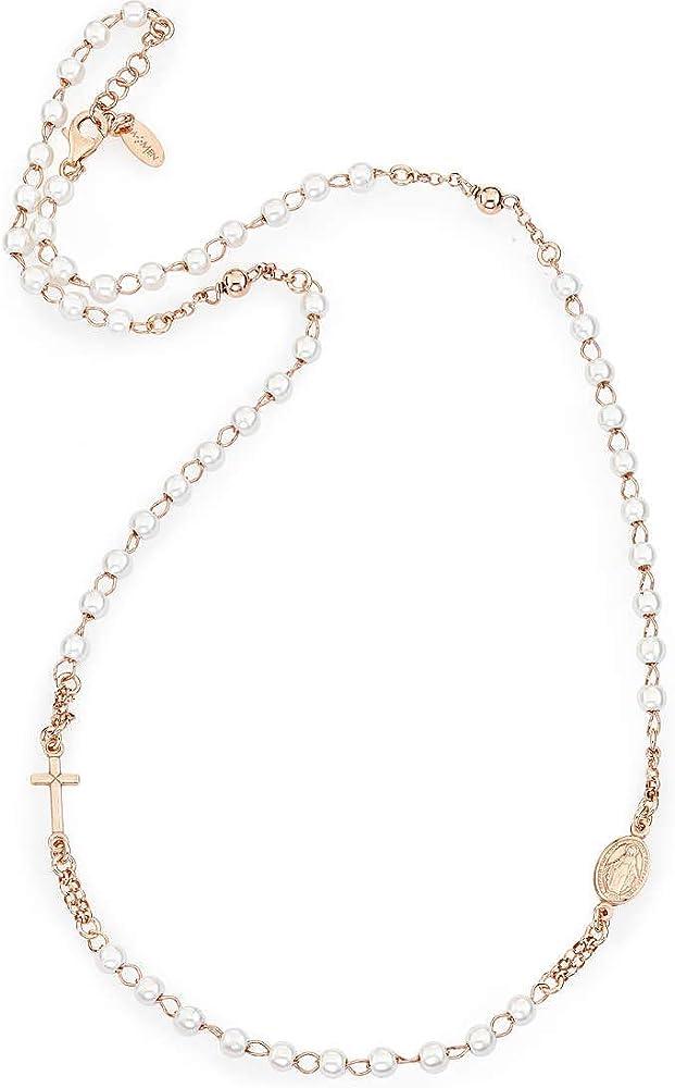 Amen ,collana in argento 925 e perle,in pavè di zirconi bianchi. 16011