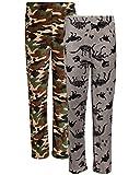 Beverly Hills Polo Club Boys  Coral Fleece Lounge Pajama Pants (2 Pack), Camo/Dinosaurs, Size 12/14