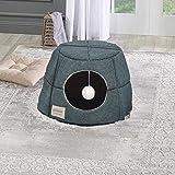 Caseta de cama IGLOO convertible en sofá para gato o perro interior. Material y diseño cuidado + cama interior suave y cómoda, desmontable, plegable, fácil de mantener, color verde oscuro