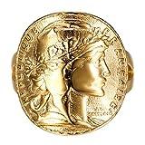 BOBIJOO Jewelry - Bague Chevalière Marianne Plaqué Or Pièce 20 Francs Napoléon Mariane Brillant Doré Cintré - 56 (7 US), Doré Or Fin - Acier Inoxydable 316