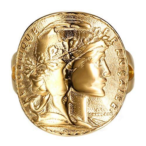 BOBIJOO Jewelry - Bague Chevalière Marianne Plaqué Or Pièce 20 Francs Napoléon Mariane Brillant Doré Cintré - 60 (9 US), Doré Or Fin - Acier Inoxydable 316