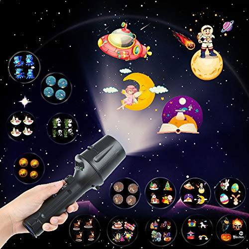 LED Projector Flashlight Halloween Christmas Projector Lights 14 Slides Projection Holiday Lights Battery-Operated 2 in 1 Decoration Light Led Projector Lights for Party Birthday Easter Gift for Kids